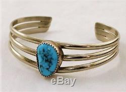 Vintage Fred Harvey Era Bisbee Turquoise Bracelet En Argent Sterling Manchette Taille 6