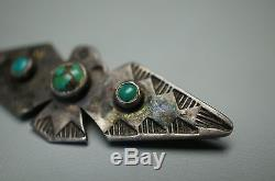 Vintage Navajo Fred Harvey Era Thunderbird Broche En Argent Sterling Avec Broche Turquoise