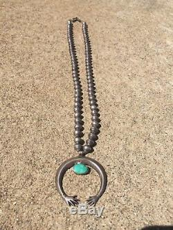 Vtg Années 30 Vieux Navajo Naja Collier Pièce Argent Banc Perles Vieux Pawn Fred Harvey