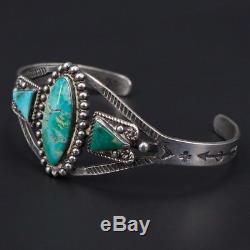 Vtg Argent Sterling Navajo Fred Harvey Era Turquoise 6.5 Bracelet Manchette 19g