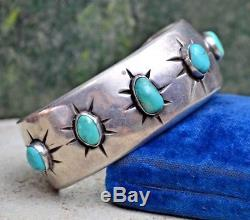 Vtg Bracelet Manchette Étoile Turquoise Avec Vieux Pion Navajo Fred Harvey Lingot Époque Argent