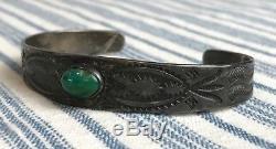 Vtg Fred Harvey Bracelet Manchette Estampé Navajo Turquoise En Argent