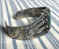 Vtg Fred Harvey Bracelet Manchette Navajo Époque Arrow En Argent Sterling Et Turquoise