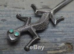Vtg Fred Harvey Era Figural Gecko Lézard Sterling Argent Turquoise Letter Opener