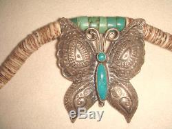 Vtg. Fred Harvey Era Old Pawn - Navajo - Broche Papillon En Argent Sterling Et Turquoise