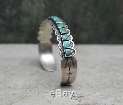 Vtg Navajo Old Pawn 14 Bracelet Manchette Rangée Turquoise Flèches Argentées Fred Harvey Époque