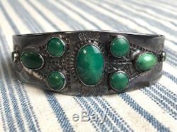Vtg Old Pawn Bracelet Manchette Estampillé Navajo Turquoise En Argent Sterling Fred Harvey