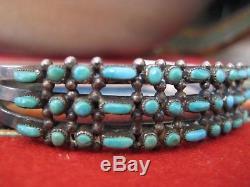 Vtg Triple Row Zuni Manchette Argent Turquoise Bracelet Oeil De Serpent Fred Harvey Navajo