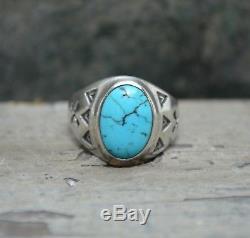 Vtg Vieille Fred Fred Harvey Era Argent Turquoise Homme Crossed Ring Biker 8.5