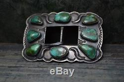 Vtg Vieux Pion Fred Harvey Style Argent & Turquoise Ceinture Boucle Geraldine Yazzie