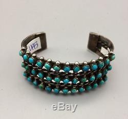 Œil De Vipère! Bracelet Vintage Turquoise Fred Harvey Era Coin Ou Argent Serling